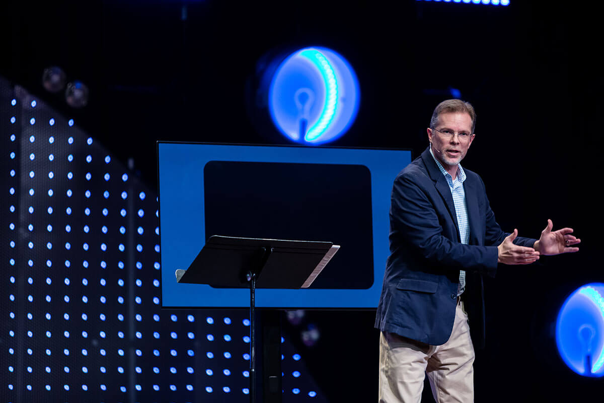 Ron Deal speaking at a conference.